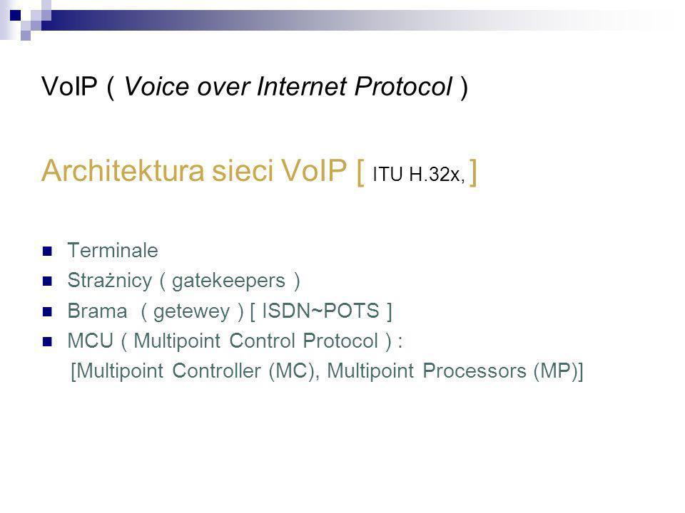 VoIP ( Voice over Internet Protocol ) Architektura sieci VoIP [ ITU H.32x, ] Terminale Strażnicy ( gatekeepers ) Brama ( getewey ) [ ISDN~POTS ] MCU (