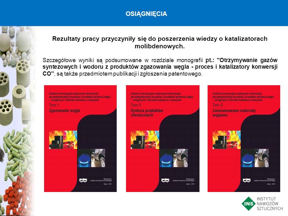 Rezultaty pracy przyczyniły się do poszerzenia wiedzy o katalizatorach molibdenowych. Szczegółowe wyniki są podsumowane w rozdziale monografii pt.: