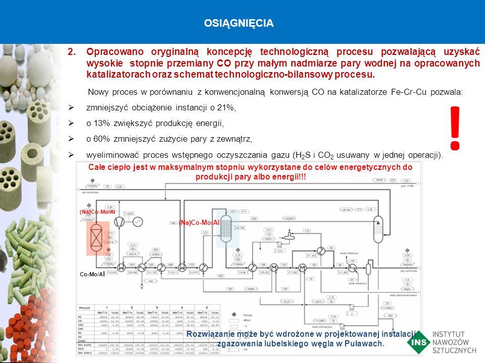 2.Opracowano oryginalną koncepcję technologiczną procesu pozwalającą uzyskać wysokie stopnie przemiany CO przy małym nadmiarze pary wodnej na opracowa