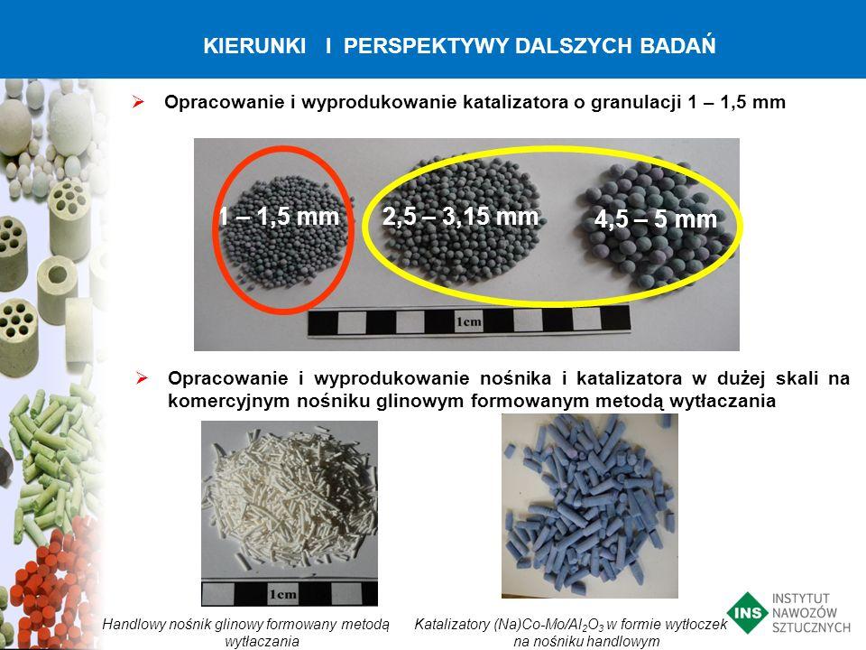 1 – 1,5 mm 2,5 – 3,15 mm 4,5 – 5 mm KIERUNKI I PERSPEKTYWY DALSZYCH BADAŃ Opracowanie i wyprodukowanie katalizatora o granulacji 1 – 1,5 mm Opracowani