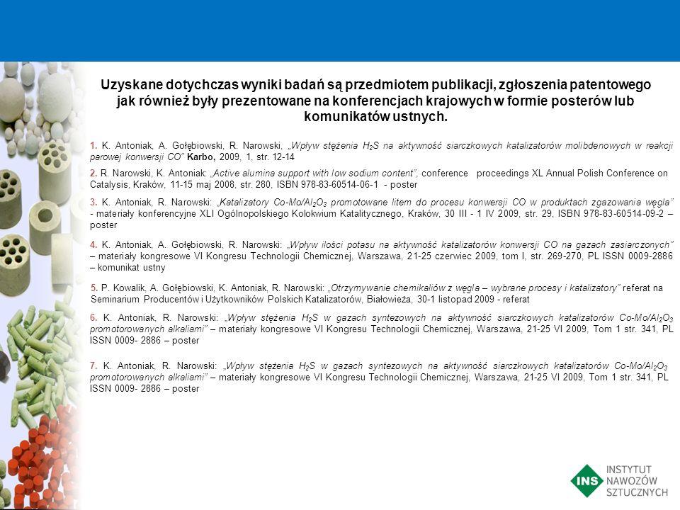 Uzyskane dotychczas wyniki badań są przedmiotem publikacji, zgłoszenia patentowego jak również były prezentowane na konferencjach krajowych w formie p