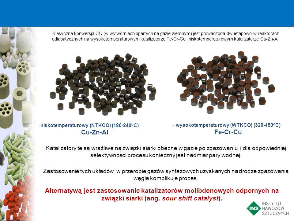Klasyczna konwersja CO (w wytwórniach opartych na gazie ziemnym) jest prowadzona dwuetapowo w reaktorach adiabatycznych na wysokotemperaturowym katali