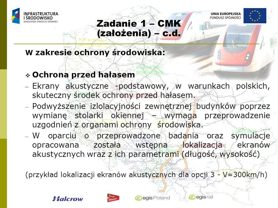 Zadanie 1 – CMK (założenia) – c.d. W zakresie ochrony środowiska: Ochrona przed hałasem Ekrany akustyczne -podstawowy, w warunkach polskich, skuteczny