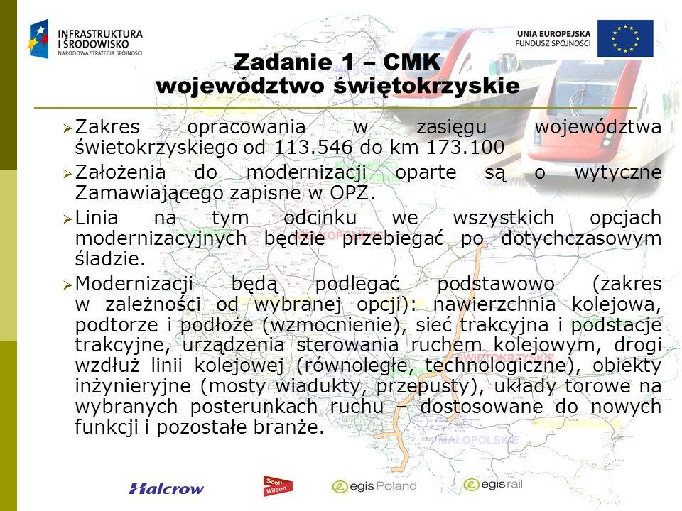 Zadanie 1 – CMK województwo świętokrzyskie Zakres opracowania w zasięgu województwa świetokrzyskiego od 113.546 do km 173.100 Założenia do modernizacj