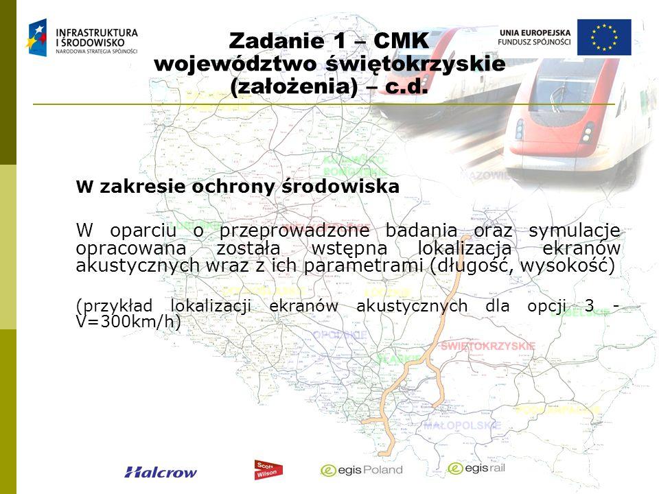 Zadanie 1 – CMK województwo świętokrzyskie (założenia) – c.d. W zakresie ochrony środowiska W oparciu o przeprowadzone badania oraz symulacje opracowa