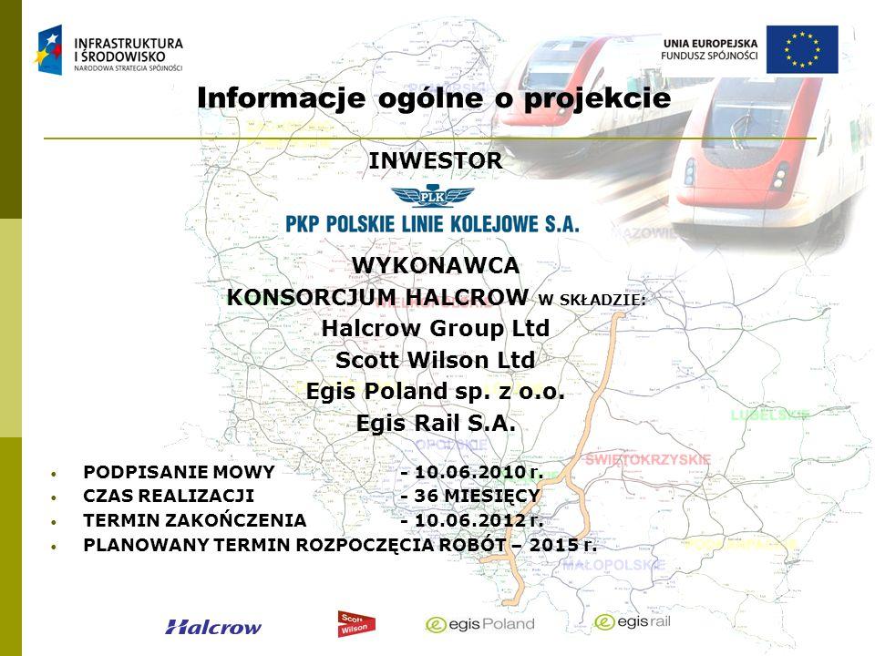 Informacje ogólne o projekcie INWESTOR WYKONAWCA KONSORCJUM HALCROW W SKŁADZIE: Halcrow Group Ltd Scott Wilson Ltd Egis Poland sp. z o.o. Egis Rail S.