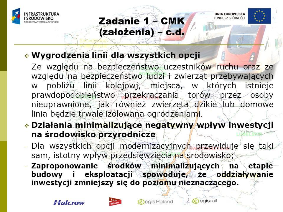 Zadanie 1 – CMK (założenia) – c.d. Wygrodzenia linii dla wszystkich opcji Ze względu na bezpieczeństwo uczestników ruchu oraz ze względu na bezpieczeń