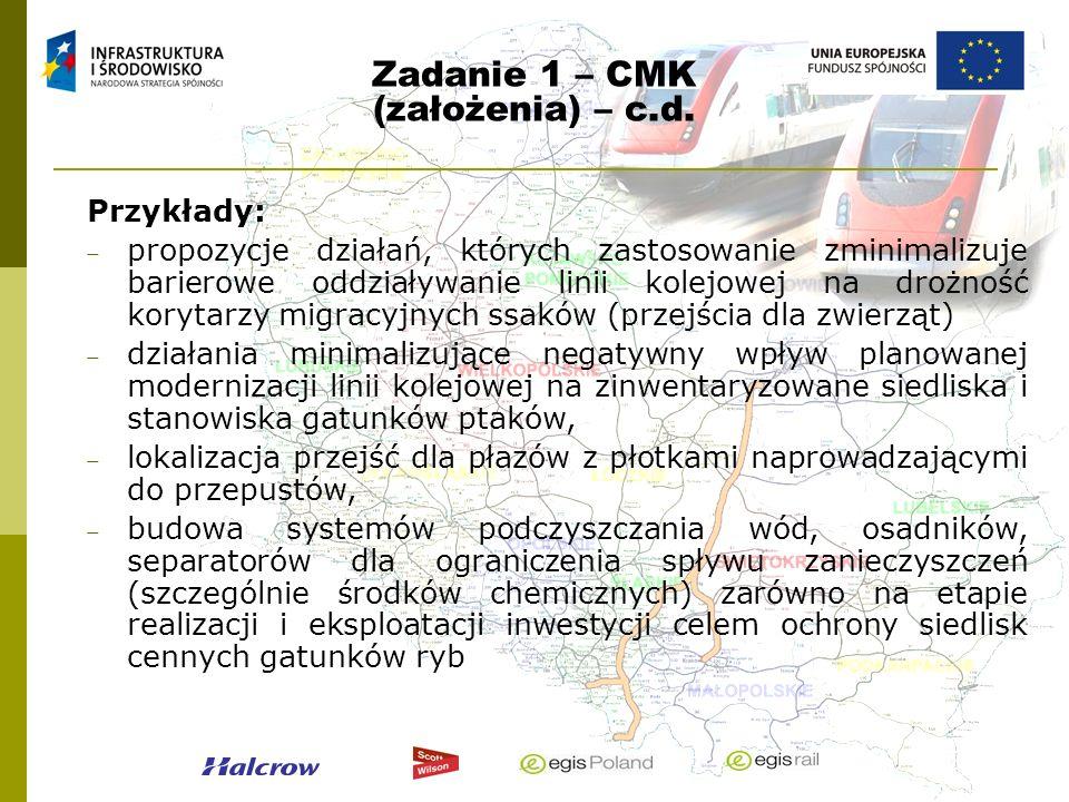 Zadanie 1 – CMK (założenia) – c.d. Przykłady: propozycje działań, których zastosowanie zminimalizuje barierowe oddziaływanie linii kolejowej na drożno