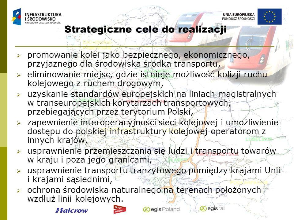Strategiczne cele do realizacji promowanie kolei jako bezpiecznego, ekonomicznego, przyjaznego dla środowiska środka transportu, eliminowanie miejsc,