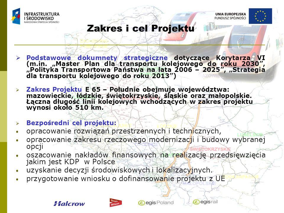 Zakres i cel Projektu Podstawowe dokumnety strategiczne dotyczące Korytarza VI (m.in. Master Plan dla transportu kolejowego do roku 2030, Polityka Tra