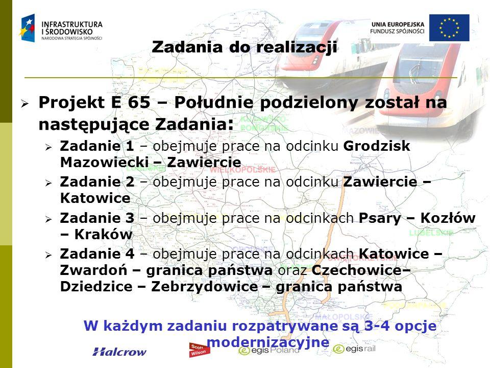 Zadania do realizacji Projekt E 65 – Południe podzielony został na następujące Zadania : Zadanie 1 – obejmuje prace na odcinku Grodzisk Mazowiecki – Z