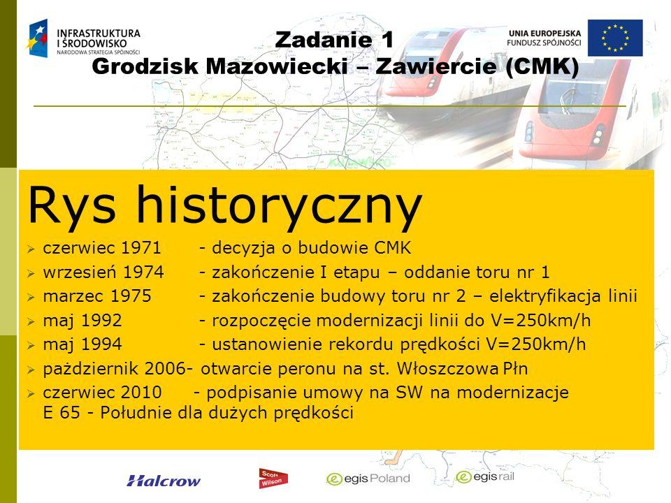 Zadanie 1 Grodzisk Mazowiecki – Zawiercie (CMK) Rys historyczny czerwiec 1971- decyzja o budowie CMK wrzesień 1974- zakończenie I etapu – oddanie toru