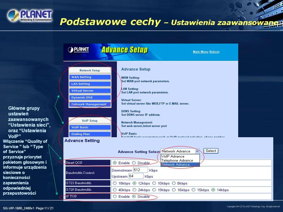 SG-VIP-1680_2480v1 Page 11 / 21 WAN –Klient DHCP, stały IP, obsługa PPPoE –SNTP, synchronizacja czasu. LAN –NAT, Obsługa trybu bridge –Serwer DHCP, se