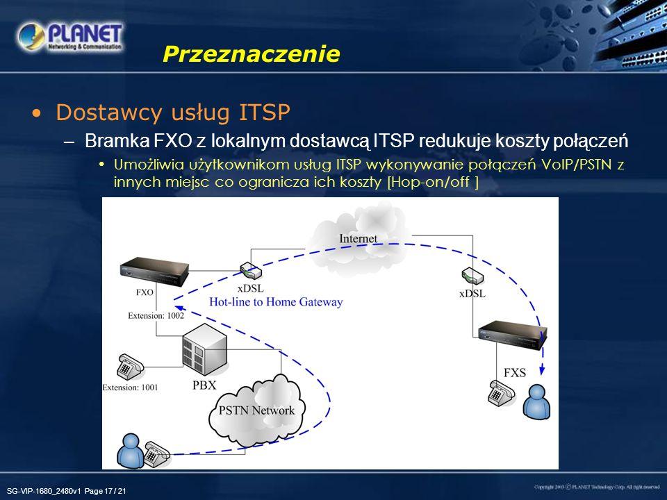 SG-VIP-1680_2480v1 Page 17 / 21 Przeznaczenie Dostawcy usług ITSP –Bramka FXO z lokalnym dostawcą ITSP redukuje koszty połączeń Umożliwia użytkownikom