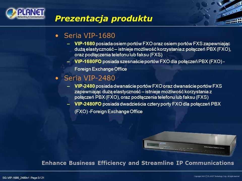 SG-VIP-1680_2480v1 Page 3 / 21 Prezentacja produktu Seria VIP-1680 –VIP-1680 posiada osiem portów FXO oraz osiem portów FXS zapewniając dużą elastyczn
