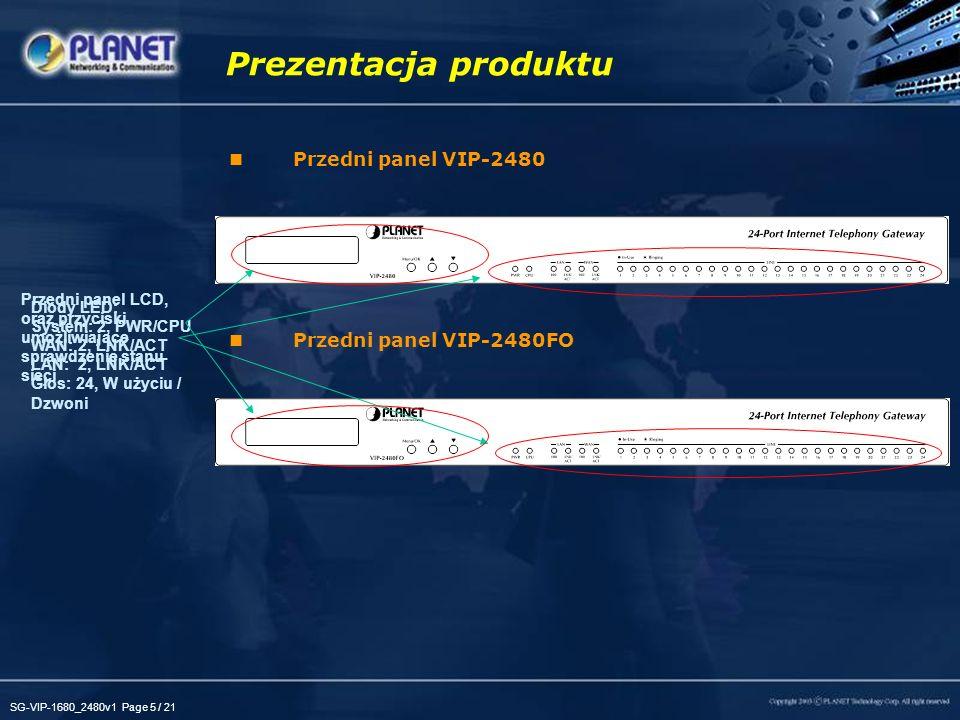SG-VIP-1680_2480v1 Page 5 / 21 Przedni panel VIP-2480 Przedni panel VIP-2480FO Prezentacja produktu Diody LED: System: 2, PWR/CPU WAN: 2, LNK/ACT LAN:
