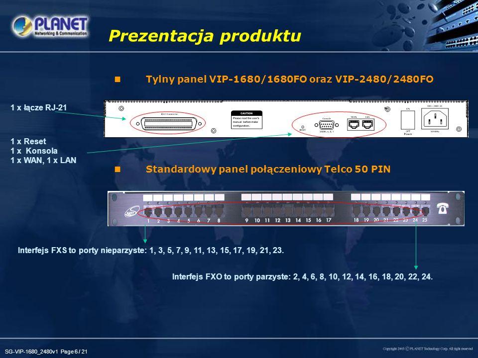 SG-VIP-1680_2480v1 Page 6 / 21 Tylny panel VIP-1680/1680FO oraz VIP-2480/2480FO Standardowy panel połączeniowy Telco 50 PIN Prezentacja produktu 1 x R