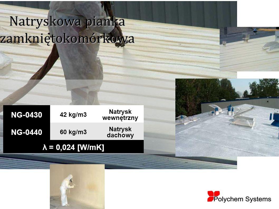 Natryskowa pianka zamkniętokomórkowa NG-0430 42 kg/m3 Natrysk wewnętrzny NG-0440 60 kg/m3 Natrysk dachowy λ = 0,024 [W/mK]