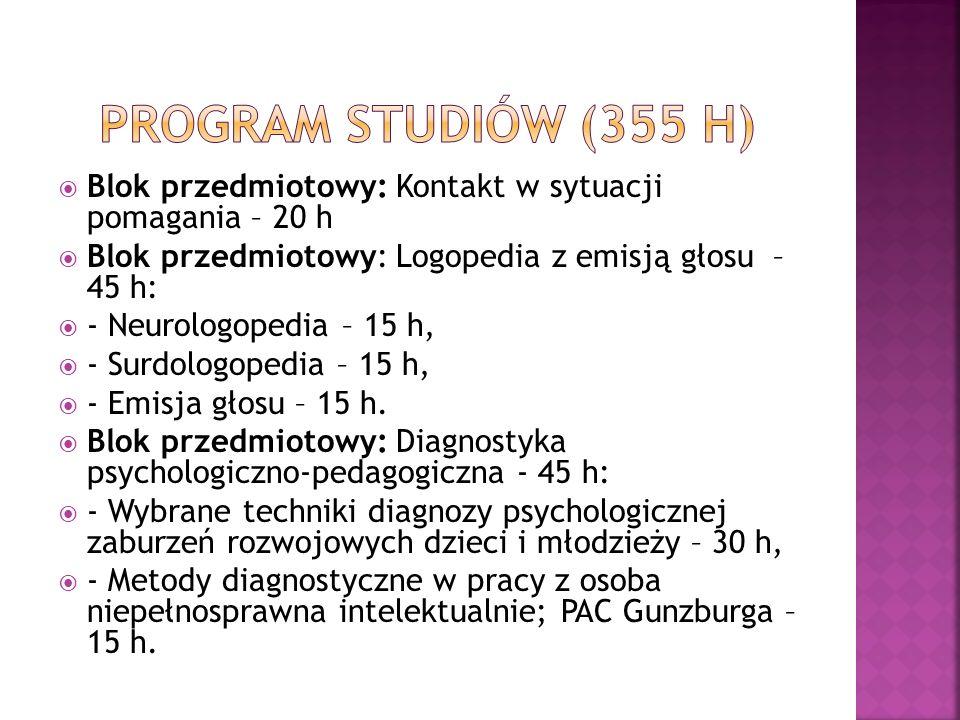Blok przedmiotowy: Kontakt w sytuacji pomagania – 20 h Blok przedmiotowy: Logopedia z emisją głosu – 45 h: - Neurologopedia – 15 h, - Surdologopedia –