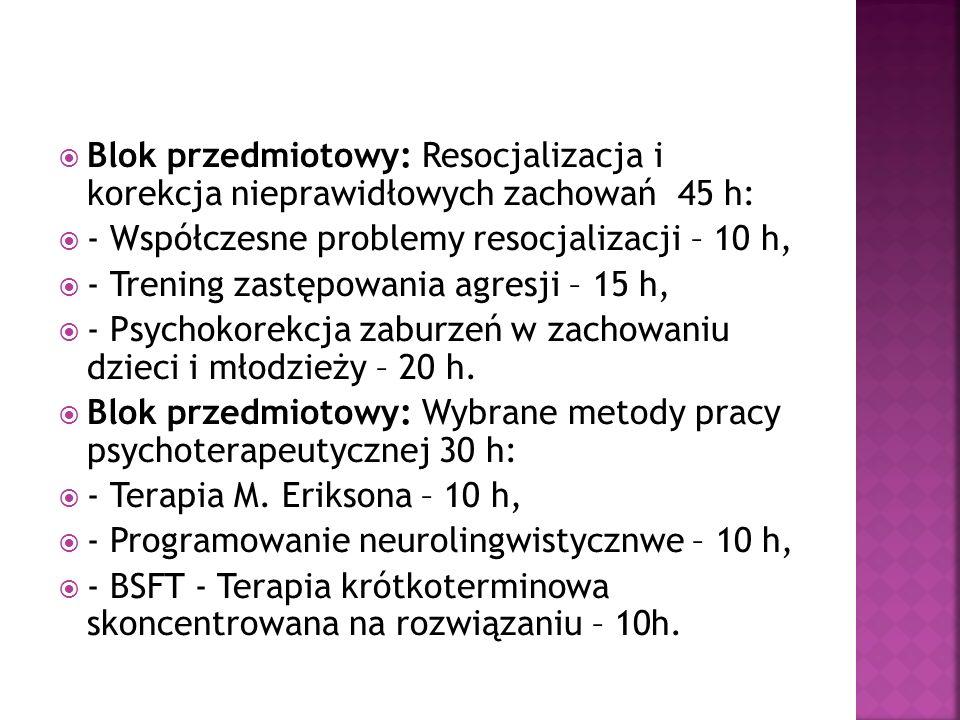 Blok przedmiotowy: Profilaktyka społeczna 45 h: - Współczesne tendencje w profilaktyce uzależnień – 10 h, - Zagrożenia rozwoju psychospołecznego dzieci i młodzieży – 15 h, - Wypalenie zawodowe – 5 h, - Pisanie szkolnych programów profilaktyki – 15 h.