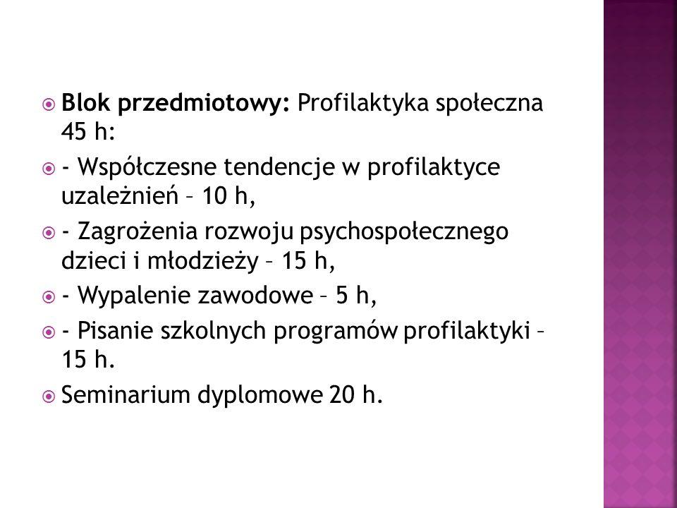 Blok przedmiotowy: Profilaktyka społeczna 45 h: - Współczesne tendencje w profilaktyce uzależnień – 10 h, - Zagrożenia rozwoju psychospołecznego dziec