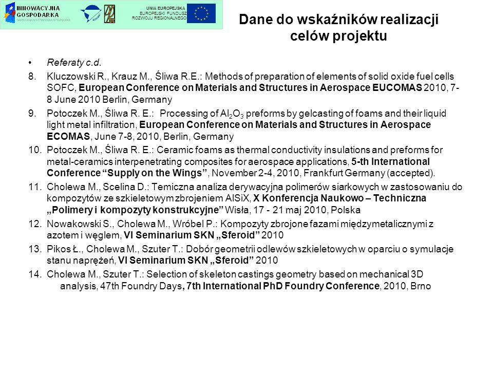 Dane do wskaźników realizacji celów projektu Referaty c.d. 8.Kluczowski R., Krauz M., Śliwa R.E.: Methods of preparation of elements of solid oxide fu