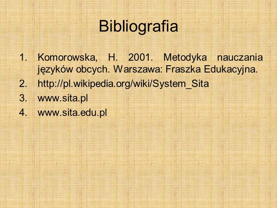Bibliografia 1.Komorowska, H. 2001. Metodyka nauczania języków obcych. Warszawa: Fraszka Edukacyjna. 2.http://pl.wikipedia.org/wiki/System_Sita 3.www.