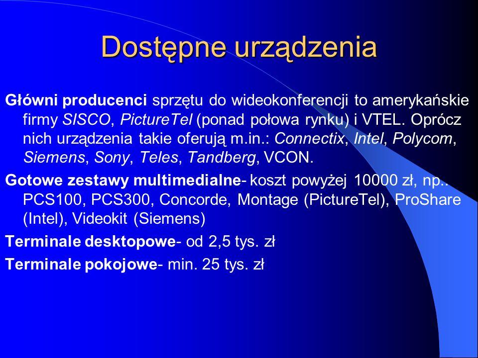 Sieci wideokonferencyjne Systemy wideokonferencyjne mogą komunikować się nie tylko w trybie punkt-punkt, czy też w ramach sieci telefonii cyfrowej ISD