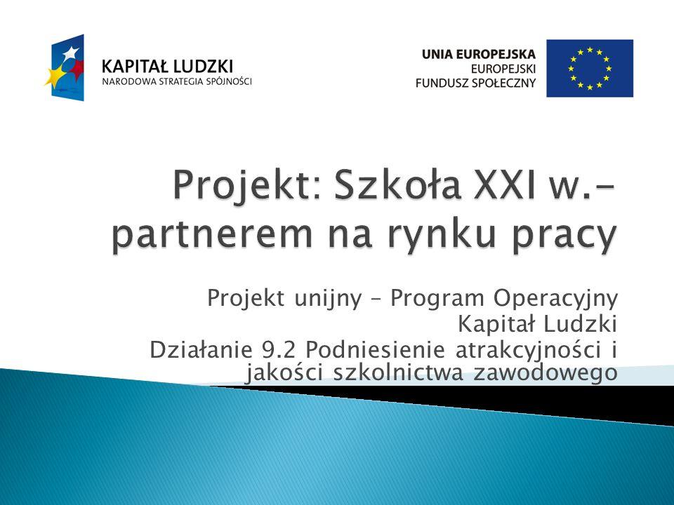 Projekt unijny – Program Operacyjny Kapitał Ludzki Działanie 9.2 Podniesienie atrakcyjności i jakości szkolnictwa zawodowego