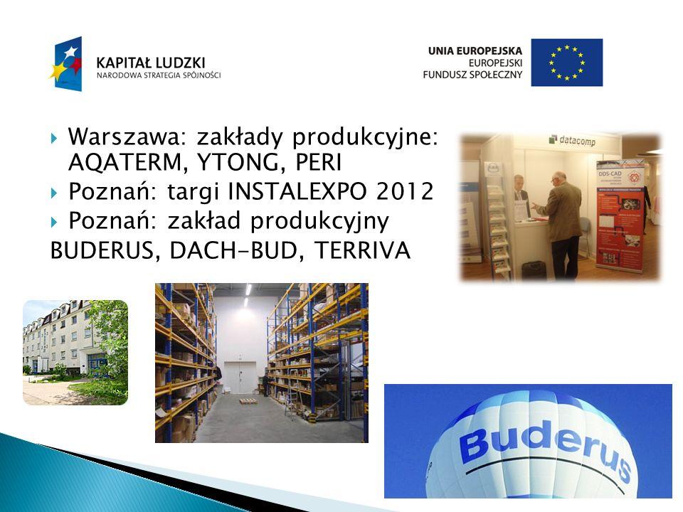 Warszawa: zakłady produkcyjne: AQATERM, YTONG, PERI Poznań: targi INSTALEXPO 2012 Poznań: zakład produkcyjny BUDERUS, DACH-BUD, TERRIVA