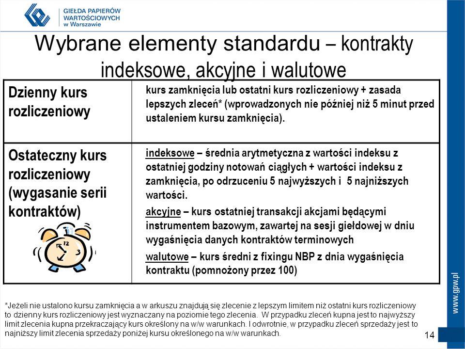 13 Kontrakty walutowe - specyfika Dla kontraktu EUR kurs giełdowy np. 415,20 - to wartość 100 EUR w PLN Natomiast wartość kontraktu to 41.520 PLN – ró