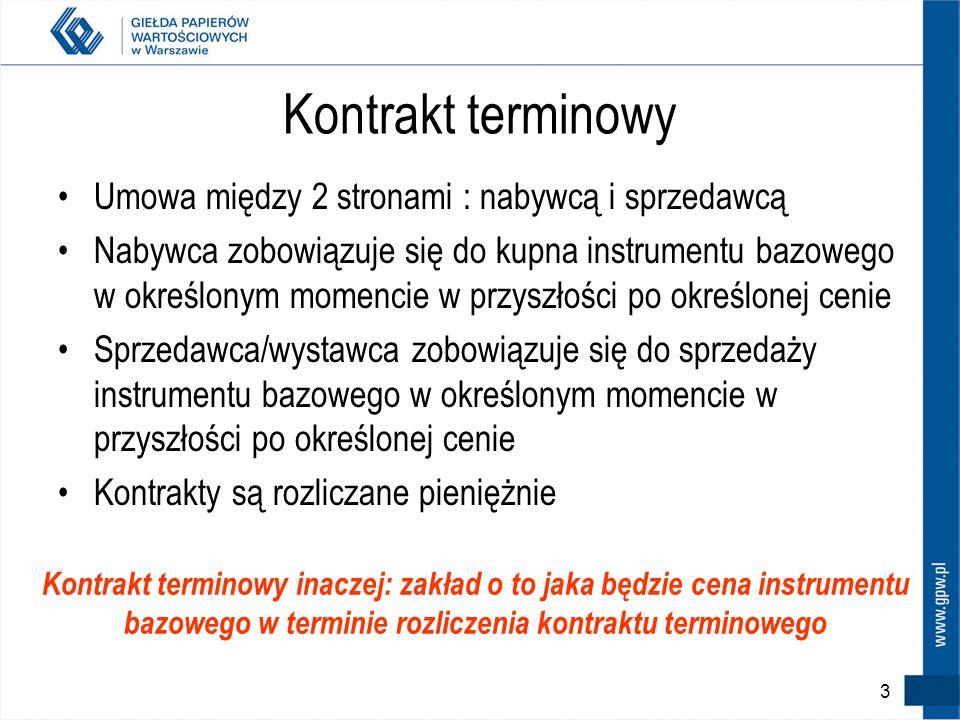 Plan szkolenia 2 1.Kontrakty terminowe – charakterystyka 2.Kontrakty terminowe na GPW – konstrukcja, zasady obrotu 3.Dźwignia finansowa – szanse i zag