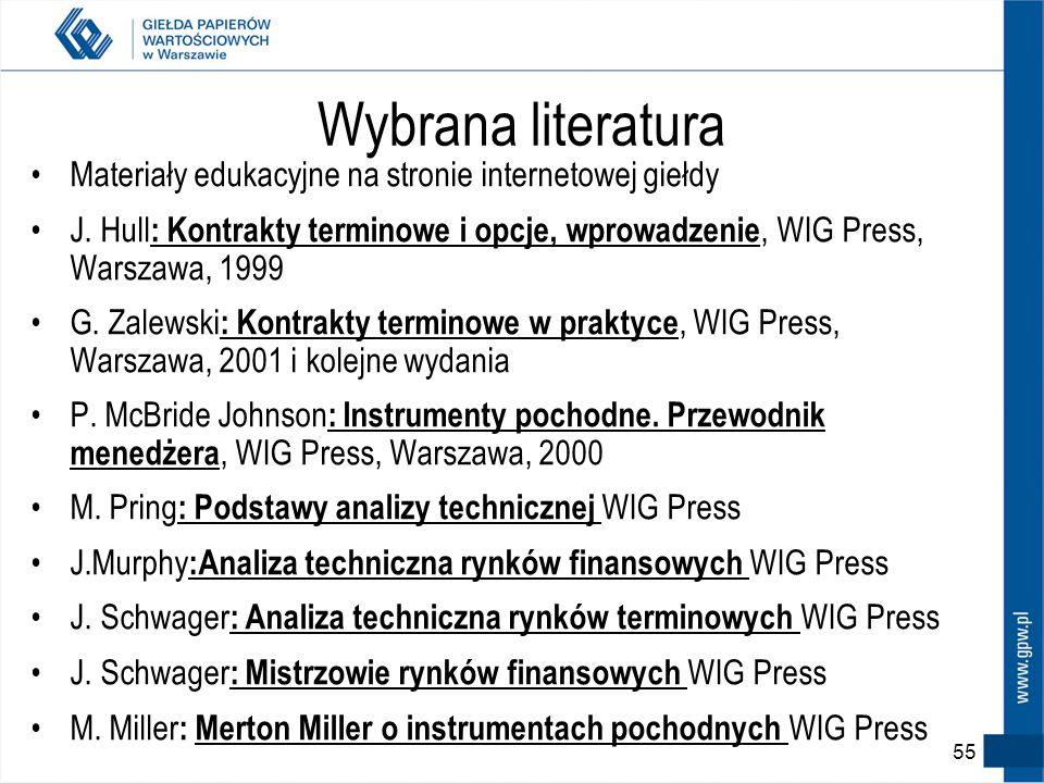 Dodatkowe informacje Strona internetowa GPW http://www.gpw.com.pl –Materiały edukacyjne –Lista najczęściej zadawanych pytań –regulacje – standardy, Sz