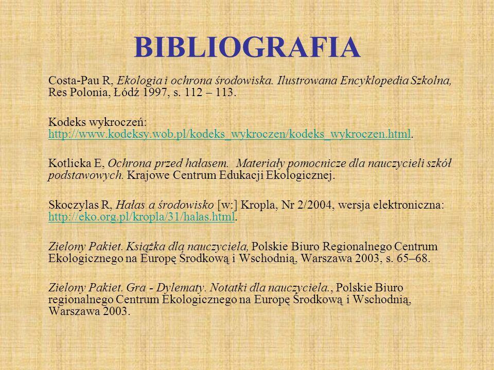 BIBLIOGRAFIA Costa-Pau R, Ekologia i ochrona środowiska. Ilustrowana Encyklopedia Szkolna, Res Polonia, Łódź 1997, s. 112 – 113. Kodeks wykroczeń: htt