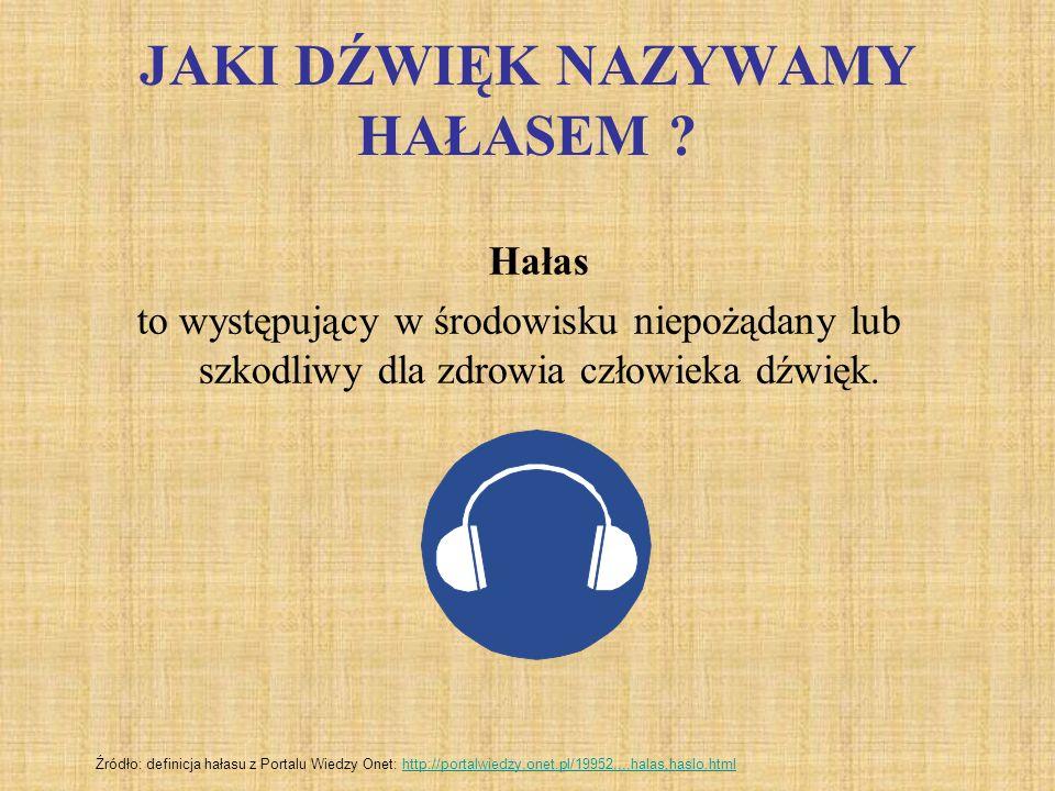 JAKI DŹWIĘK NAZYWAMY HAŁASEM ? Hałas to występujący w środowisku niepożądany lub szkodliwy dla zdrowia człowieka dźwięk. Źródło: definicja hałasu z Po