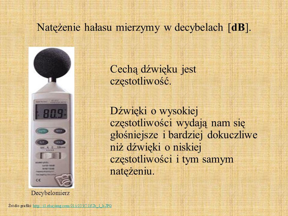 Natężenie hałasu mierzymy w decybelach [dB]. Cechą dźwięku jest częstotliwość. Dźwięki o wysokiej częstotliwości wydają nam się głośniejsze i bardziej