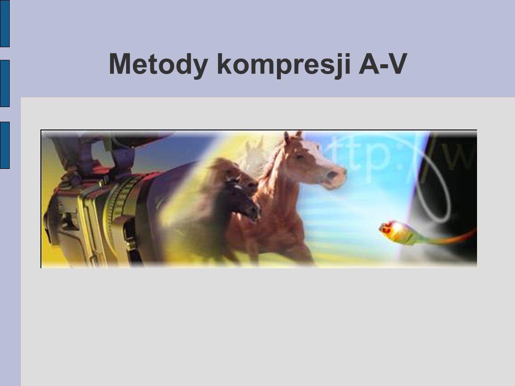 Podziały Pierwsze podejścia do kompresji A-V – redukcja bitów Dzisiejsze podziały: – Obraz, dźwięk – Stratna, bezstratna – Bitrate (CBR, VBR) – Zastosowanie (mastering, streaming, edycja) – Platforma (Systemy operacyjne, urządzenia)