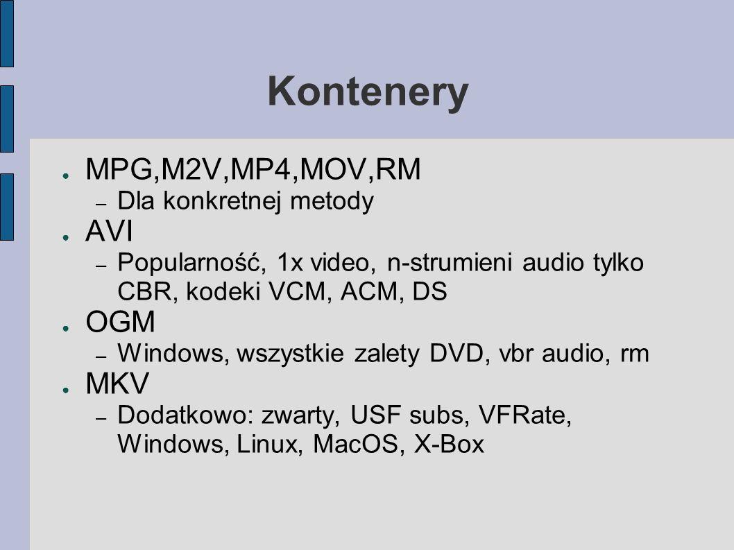 Kontenery MPG,M2V,MP4,MOV,RM – Dla konkretnej metody AVI – Popularność, 1x video, n-strumieni audio tylko CBR, kodeki VCM, ACM, DS OGM – Windows, wszystkie zalety DVD, vbr audio, rm MKV – Dodatkowo: zwarty, USF subs, VFRate, Windows, Linux, MacOS, X-Box