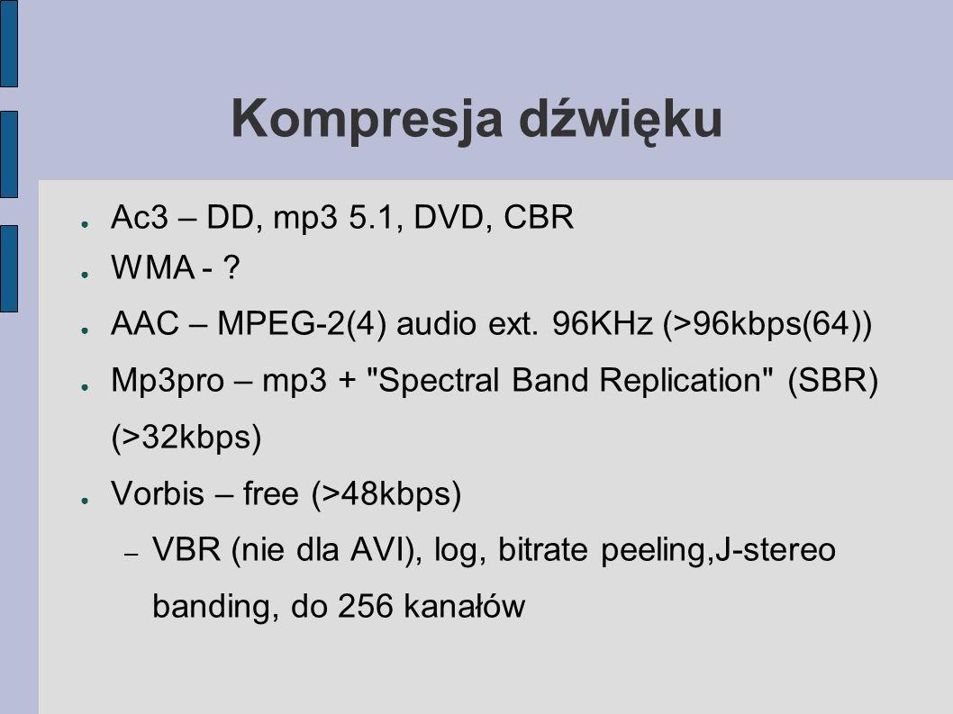 Kompresja dźwięku Ac3 – DD, mp3 5.1, DVD, CBR WMA - .