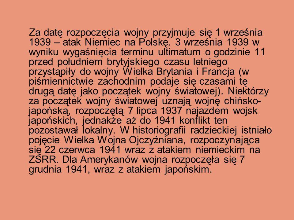Zapowiedzią nadchodzącego konfliktu był wzrost nastrojów nacjonalistycznych i dążeń ekspansywnych ze strony państw osi, wyrażający się w ataku faszystowskich Włoch na Abisynię (wojna włosko- abisyńska 1935-1936), trwającej od 1937 wojnie chińsko-japońskiej (którą część historyków uważa za część II wojny światowej) oraz rozbiorze Czechosłowacji (październik 1938).