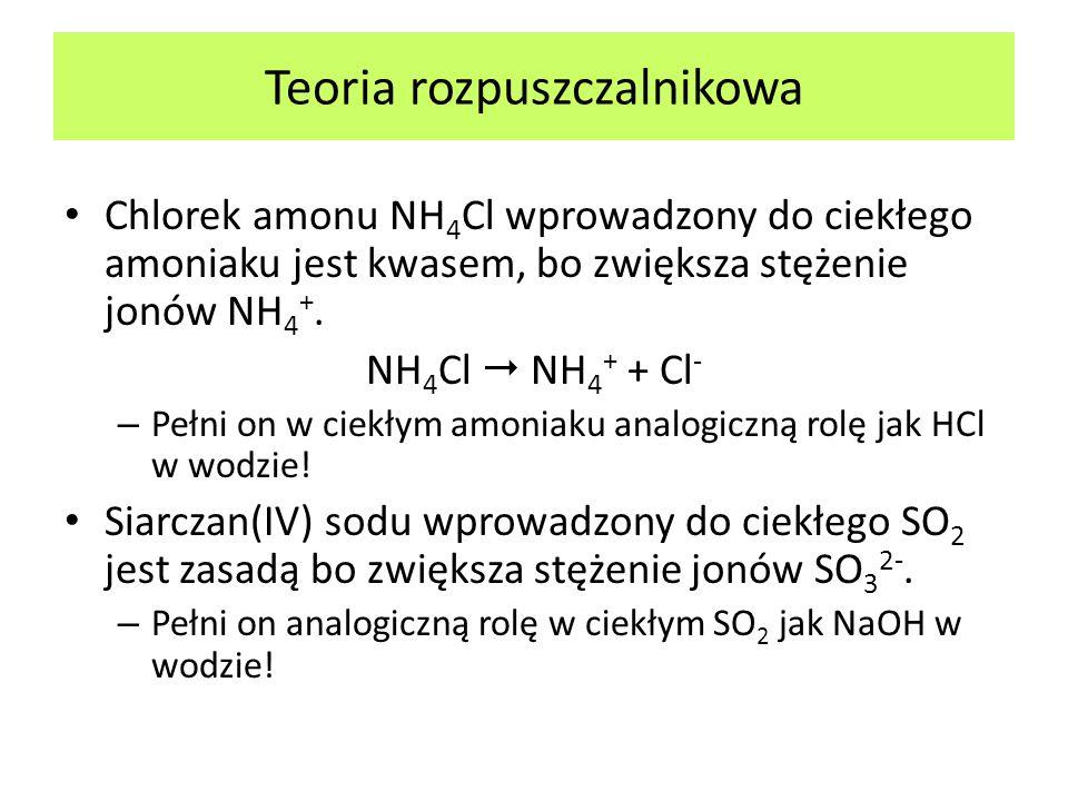 Chlorek amonu NH 4 Cl wprowadzony do ciekłego amoniaku jest kwasem, bo zwiększa stężenie jonów NH 4 +. NH 4 Cl NH 4 + + Cl - – Pełni on w ciekłym amon