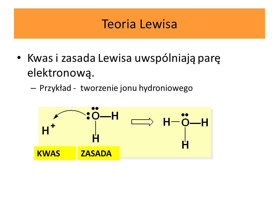 Teoria Lewisa Kwas i zasada Lewisa uwspólniają parę elektronową. Kwas i zasada Lewisa uwspólniają parę elektronową. – Przykład - tworzenie jonu hydron