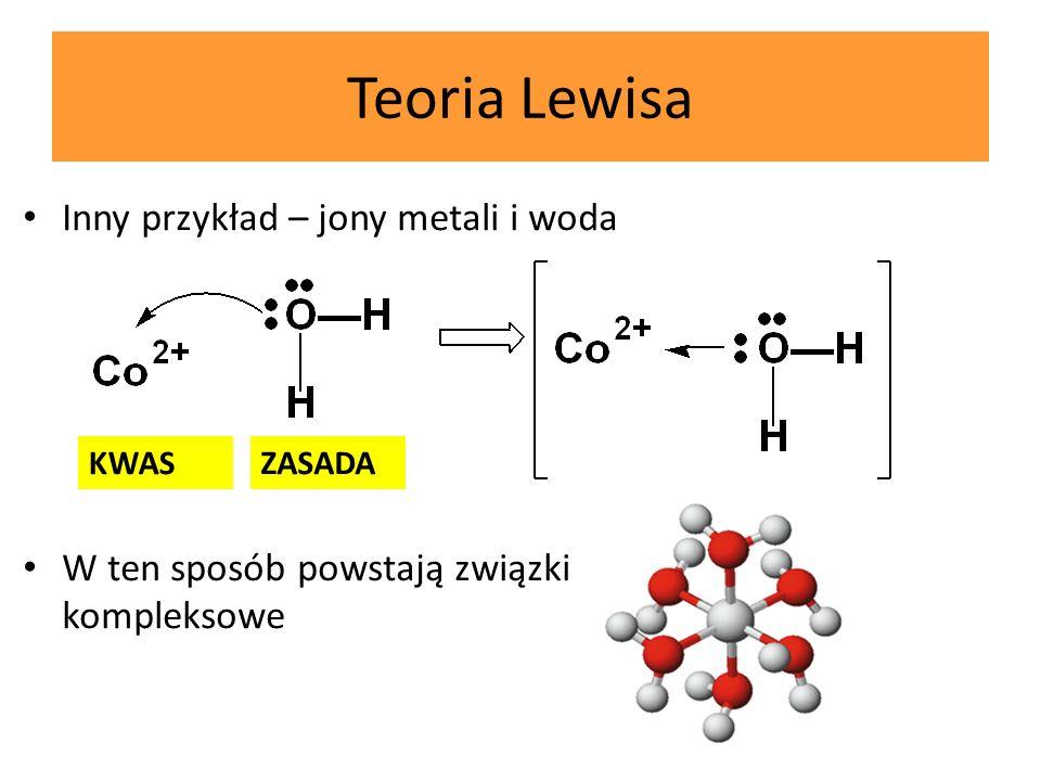 Teoria Lewisa Inny przykład – jony metali i woda Inny przykład – jony metali i woda W ten sposób powstają związki kompleksowe KWASZASADA