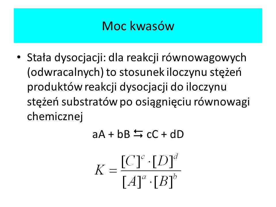 Moc kwasów Stała dysocjacji: dla reakcji równowagowych (odwracalnych) to stosunek iloczynu stężeń produktów reakcji dysocjacji do iloczynu stężeń subs