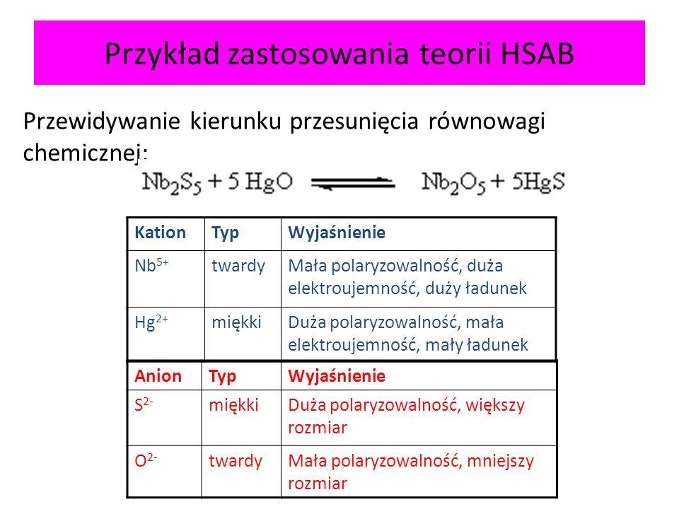 Przykład zastosowania teorii HSAB Przewidywanie kierunku przesunięcia równowagi chemicznej: KationTypWyjaśnienie Nb 5+ twardyMała polaryzowalność, duż