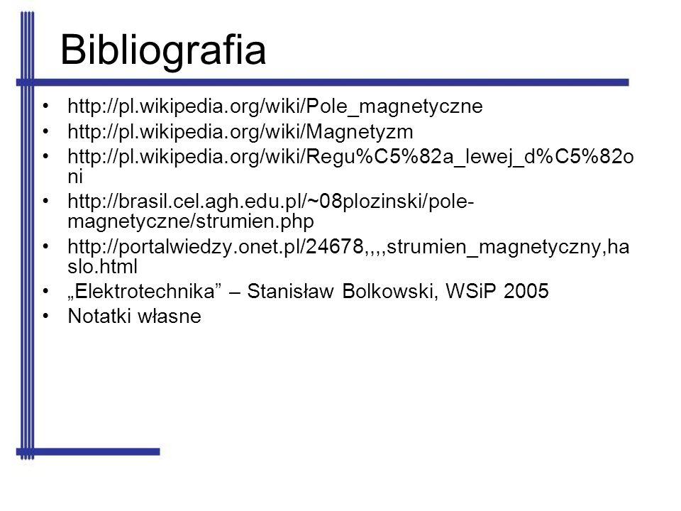 Bibliografia http://pl.wikipedia.org/wiki/Pole_magnetyczne http://pl.wikipedia.org/wiki/Magnetyzm http://pl.wikipedia.org/wiki/Regu%C5%82a_lewej_d%C5%
