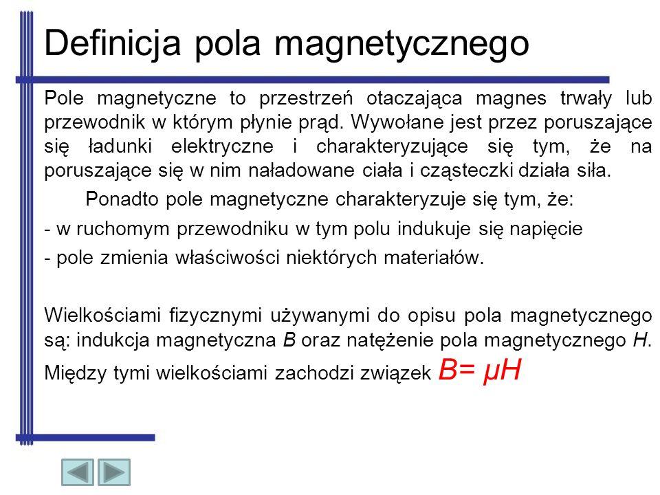 Definicja pola magnetycznego Pole magnetyczne to przestrzeń otaczająca magnes trwały lub przewodnik w którym płynie prąd. Wywołane jest przez poruszaj