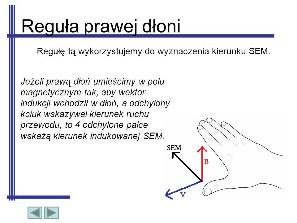 Reguła lewej dłoni Jeżeli lewą dłoń umieścimy w polu magnetycznym tak, aby linie sił pola magnetycznego wchodziły w dłoń, a 4 wyprostowane palce wskazywały kierunek przepływającego prądu, to odchylony kciuk wskaże kierunek siły działającej na przewodnik.