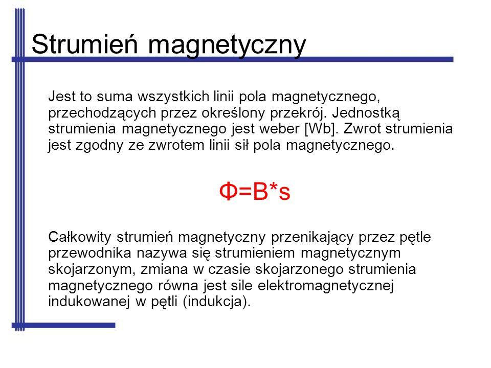 Strumień magnetyczny Jest to suma wszystkich linii pola magnetycznego, przechodzących przez określony przekrój. Jednostką strumienia magnetycznego jes