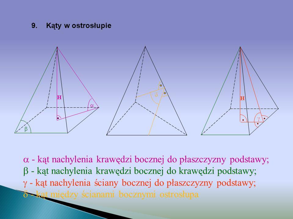 8.Ostrosłup prawidłowy sześciokątny r R R O a a a H h S a a